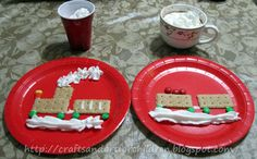 Polar Express Snack -- Graham Cracker Train with M, whipped cream, frosting & candy corn -- from Polar Express Movie + Crafts/Activities from Crafts~N~Things for Children
