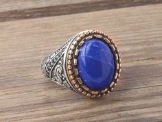 925K Sterling Silver Gemstone Man Ring With Natural Lapis #IstanbulJewellery #SolitairewithAccents