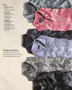 Even though the shirts are overlapping, you can still tell what the shirts look like because there isnt much design on them. All of the shirts are the same type of shirt which helps as well Still Photography, Clothing Photography, J Crew Catalog, Mens Designer Shirts, Catalog Design, Fashion Photography Inspiration, Fashion Catalogue, Work Shirts, Moda Masculina