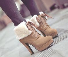 Fuzzy Boot Heels <3