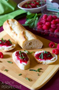 One of my favorite ways to enjoy Raspberry Cranberry Sauce with Mint is on some slices of fresh baguette with a smear of soft goat cheese.
