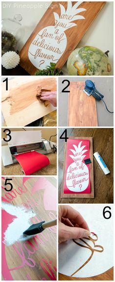 DIY Pineapple Sign made with the Silhouette from Craftaholics Anonymous