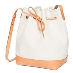 Cotton canvas bucket bag with leather trims JC-1010