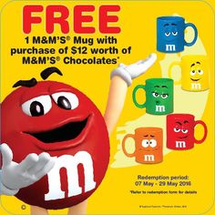 M&M Singapore FREE Mug with $12 worth of M&M Purchase 7 to 29 May 2016 - Why Not Deals
