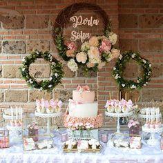 @hello.mecupcake love to create beautiful events! Pretty Pink Baptism vendors! White Cake Stands: Opulent Treasures Wood sign : Rocio Veintitres Creativo Linen : La manteleria Venue: Jardin La Cabaña (Juárez) #desserttable #baptism #eventstyling