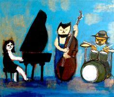 """Cat piano trio"" | pepeart  http://pepeshimada.blogspot.com"