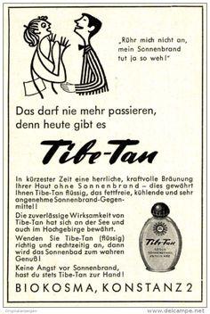 Original-Werbung/ Anzeige 1958 - CARTOON / TIBE-TAN GEGEN SONNENBRAND ca. 60 x 90 mm
