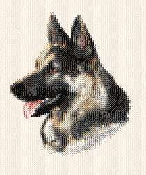Spencer German Shepherd - cross stitch pattern designed by Marv Schier. Category: Dogs.