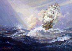 Sailing Ship Painting Sailing ship in distant sea 2