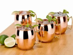 Old Dutch OS428 16 Oz. Solid Copper Moscow Mule Mugs, Set of 4
