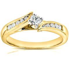 Annello by Kobelli 14k Yellow Gold 1/4ct TDW Diamond Engagement Ring (G-H, I1-I2) (Size 11), Adult Unisex, White