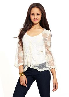LOVESTITCH Mesh Top with Allover Embroidered Details