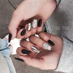 Matte black, diamonds and chrome nails   @michasiasolinska