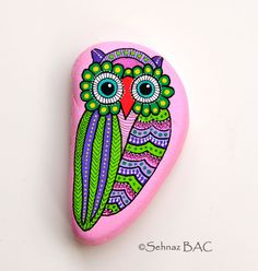Hand Painted Stone Owl by ISassiDellAdriatico on Etsy