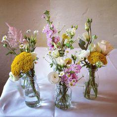Priston Mill Wedding Flowers in jam jars. Milk Bottle Centerpiece, Candle Centerpieces, Wedding Centerpieces, Wedding Decorations, Wedding Ideas, Wedding Stuff, Wedding Inspiration, Table Decorations, Jam Jar Wedding