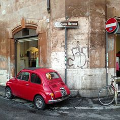 "Red ""Ferrari"" near Piazza Navona, Rome. Photo by arleneantoinettegibbs."