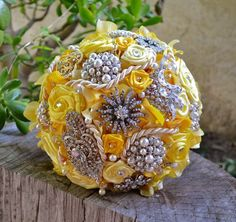 yellow brooch bouquet | Bella Bouquet.Large 8 Yellow Hydrangeas brooch by AntonellaMia, $215 ...