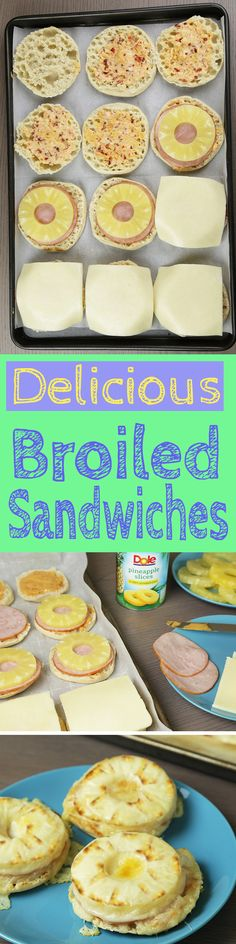 Your open-faced broiled sandwich just got a makeover! Super easy, filling and delish! Add Dole Canned Pineapple Slices for an unforgettable flavor. Hawaiian Sandwiches, Wrap Sandwiches, Pineapple Slices, Canned Pineapple, Good Food, Yummy Food, Sandwich Recipes, Lunch Recipes, Easy Recipes