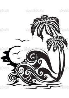 Due palme su uno sfondo di storming onde — Illustrazione stock #1659936