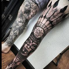 Awesome b&g full leg sleeve Artist: @braddoulttattooartist Location…