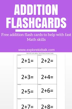 Learn fast math skills when using math flash cards. Have fun adding single digit numbers. Math websites and ways to teach Math skills. Addition Flashcards, Flashcards For Kids, Math Addition, Addition Facts, Math Flash Cards, Math Websites, Math Courses, Second Grade Math, Grade 1