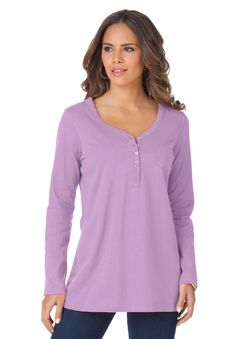 Plus Size Ultimate Henley Pocket Tee with Sweetheart Neck