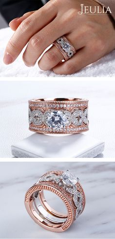 The engagement ring showcases a stunning round created white sapphire center stone surrounded by a frame of white sapphires. Shimmering framed white sapphires and intricate milgrain detailing create the ring's shank. #JeuliaJewelry