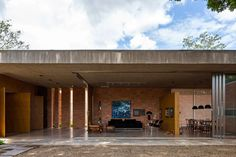 An indoor-outdoor living room in Brazil.
