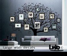 family tree wall decor - old family photos, modern home design, creative family art idea, special photo album