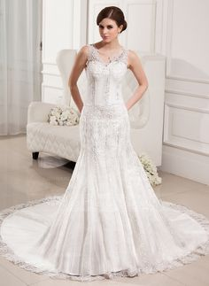 Wedding Dresses - $228.99 - Trumpet/Mermaid V-neck Chapel Train Satin Tulle Wedding Dress With Lace Beading (002000330) http://jjshouse.com/Trumpet-Mermaid-V-Neck-Chapel-Train-Satin-Tulle-Wedding-Dress-With-Lace-Beading-002000330-g330