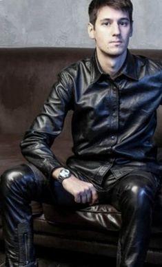 Mens Leather Pants, Biker Leather, Leather Fashion, Mens Fashion, Fashion Outfits, Gay Outfit, Cowboy Outfits, Suit Shirts, Lederhosen