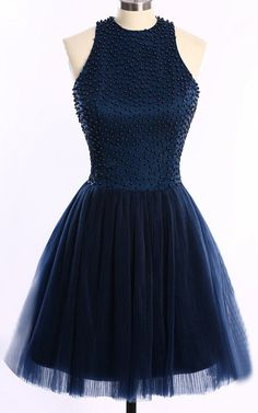 Dark Navy Sleeveless Tulle Scoop Neckline Mini A Line Pleats Short Homecoming Dress