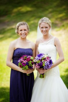Purple and green themed bridal bouquet and bridesmaids bouquet created by Lexington Floral in Shoreview, Minnesota.    #weddingflowers #bridalbouquet #bridesmaid