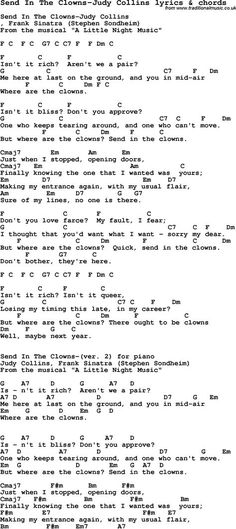 Love Song Lyrics for: Send In The Clowns-Judy Collins with chords for Ukulele, Guitar Banjo etc.