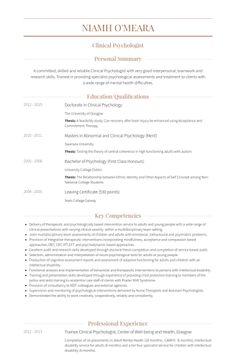 Resume Templates Clinical Psychologist Resume Pinterest