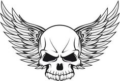 Unique Winged Skull Tattoo Design