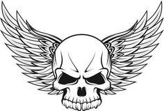 Unique Winged Skull Tattoo Design
