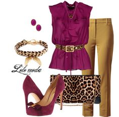 Purple button down shirt with leopard print belt, mustard slacks, leopard print clutch, purple round-toe stiletto.