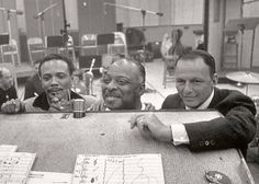 Quincy Jones, Count Basie, and Frank Sinatra in the studio.