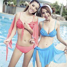 Women's Fashion Pleat Three-piece Bikini