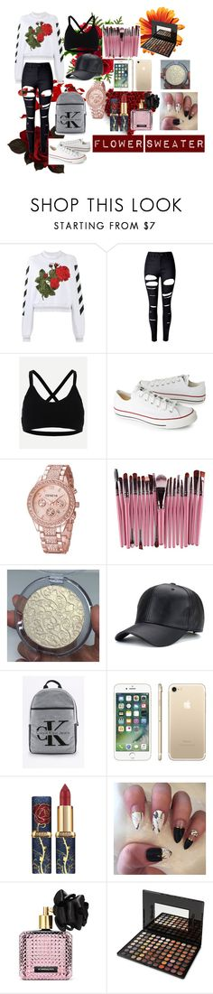 """""""Outfit #35"""" by leilani-huerta ❤ liked on Polyvore featuring Off-White, WithChic, Converse, Calvin Klein, Victoria's Secret and BHCosmetics"""