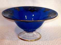 Art Deco Footed Cobalt Blue Glass Compote Bowl Vintage