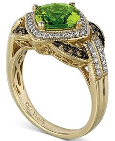 Le Vian Peridot (2-1/10 ct. t.w.) and White and Chocolate Diamond (1/3 ct. t.w.) Ring in 14k Gold - Gemstones - Jewelry & Watches - Macy's