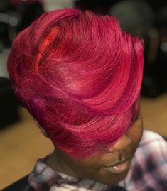 this cusotm raspberry cut and color is bomb! Raspberry Hair, Cut And Color, Pink Hair, Haircolor, Chic, Stylish, Women, Rosa Hair, Hair Color