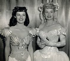 Lucille Ball (dressed up for a scene in Two Smart people) with her cousin Cleo Smith. (1946) They grew up like sisters in Jamestown, New York. Lucy spent much of her childhood taking care of her and her younger brother Fred.    Looks like Cleo got a part as an extra as she's dressed up as well. Lucy often got jobs for her family and friends in movies/her shows.