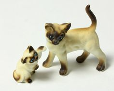 Ceramic Mother and Kitten Siamese Cats by Vintage4Vintage on Etsy