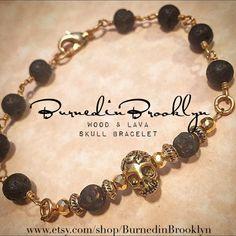 Skull Wood & Lava Rosary bracelet by by BurnedinBrooklyn on Etsy