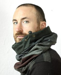 Snock™, mens hooded cowl scarf in patchwork high quality wool/cotton blend with black fleece lining (snood, neck warmer, scarf, tube scarf)
