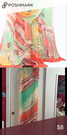 """Multicolored Chiffon Scarf Shawl Multicolored chiffon scarf/shawl features colors of orange, white, green, yellow, brown. Measures approx. 18"""" W x 58"""" L.  100% polyester.  New w/o tags, unbranded. Accessories Scarves & Wraps"""