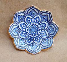 Cobalt Blue Lotus Ring Holder Bowl by dgordon on Etsy, $12.00